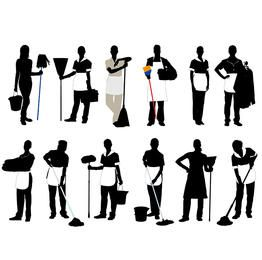 Black & White Silhouette Cleaner Profession Pack