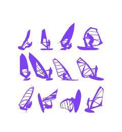 Silhueta de pacote de esportes de windsurf