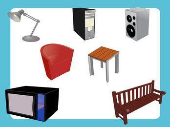 Muebles y electrodomésticos abstractos