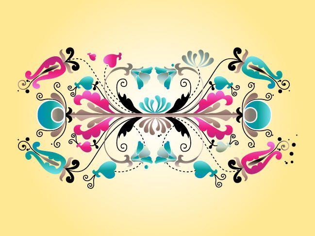 Pergaminhos simétricos decorativos florais