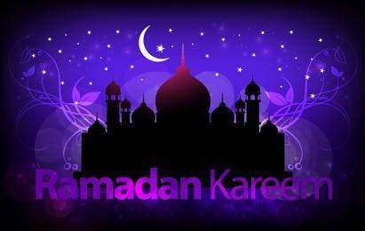 Disposición de felicitación púrpura de Santo Ramadán