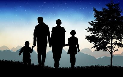 Tiempo de tarde Naturaleza con familia feliz