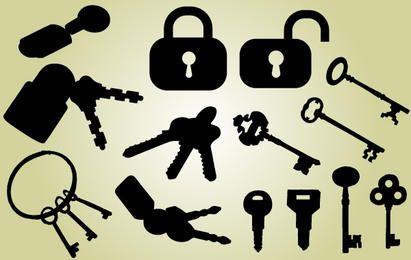 Silhueta de bloqueio e pacote de chaves