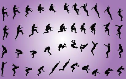 Homens, jumping, pacote, silueta