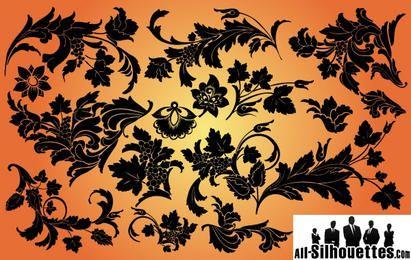 Wirbelt & Blätter Floral Set Silhouette