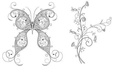 Mariposa decorativa y adorno floral