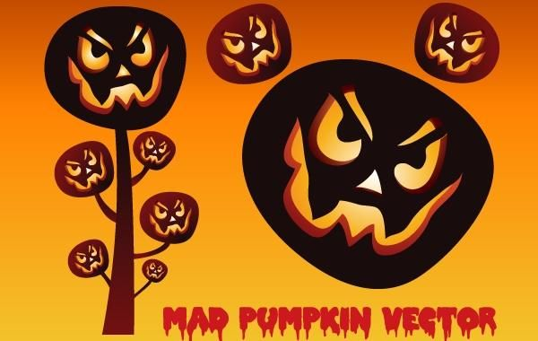 Scary Halloween Mad Pumpkin Set