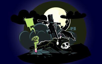 Zombie que sale de la tierra