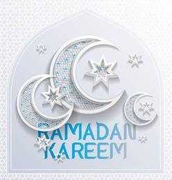 Impresionante Media Luna Lunas Ramadán Tipografía