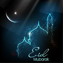 Glowing Eid Card with Mosque & Moon