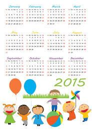 2015 Calendar with Kids Playing Beneath