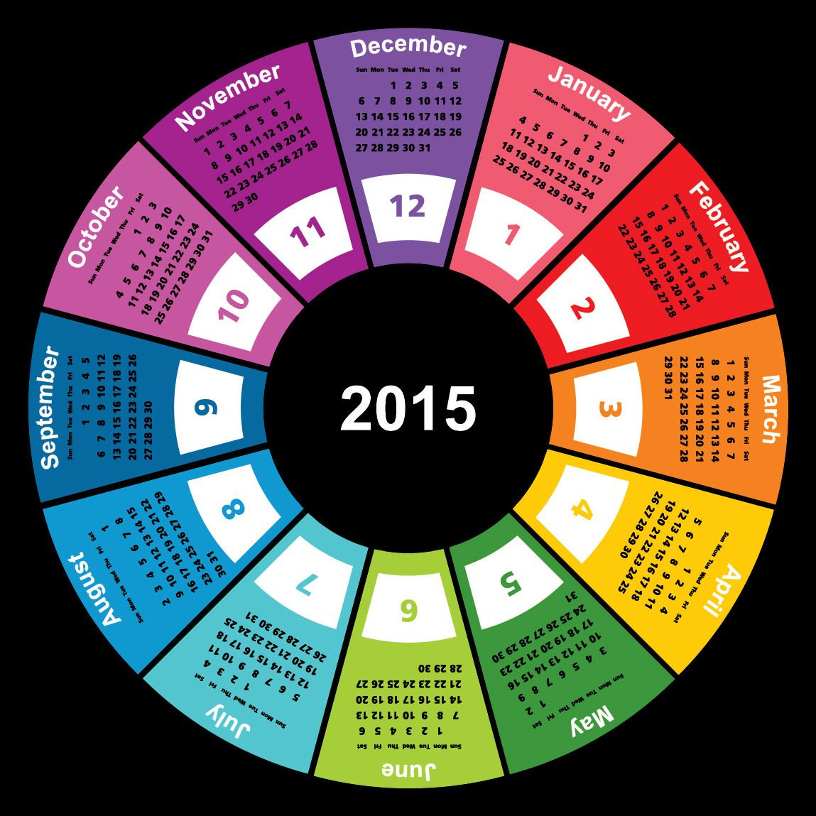 Year Round Calendar Template : Colorful geometric circular calendar vector download
