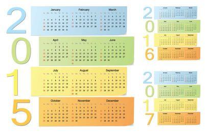 Pacote de calendário colorido nota pegajosa