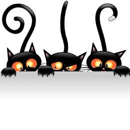 Creepy Halloween Cats Holding Blank Banner