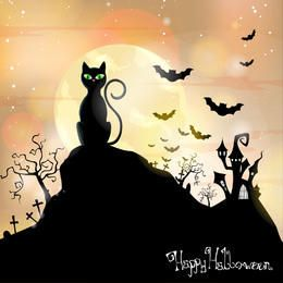 Cat Sitting on Hill Hunted Halloween Background