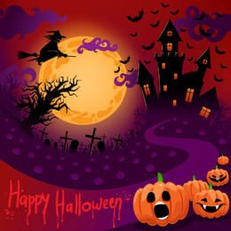 Halloween Night Creepy Purple Poster Template