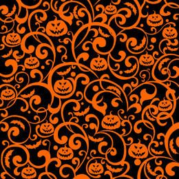Swirling Floral and Pumpkin Texture Background