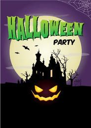 Plantilla de póster de la luna llena cazado de Halloween