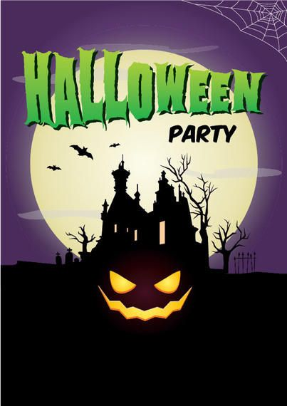 full moon hunted halloween poster template vector download