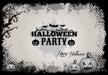 Retro Grunge Happy Halloween Card Template