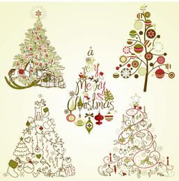 Decorative Vintage Christmas Tree Set