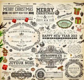 Conjunto de adornos de Navidad caligráfico decorativo vintage