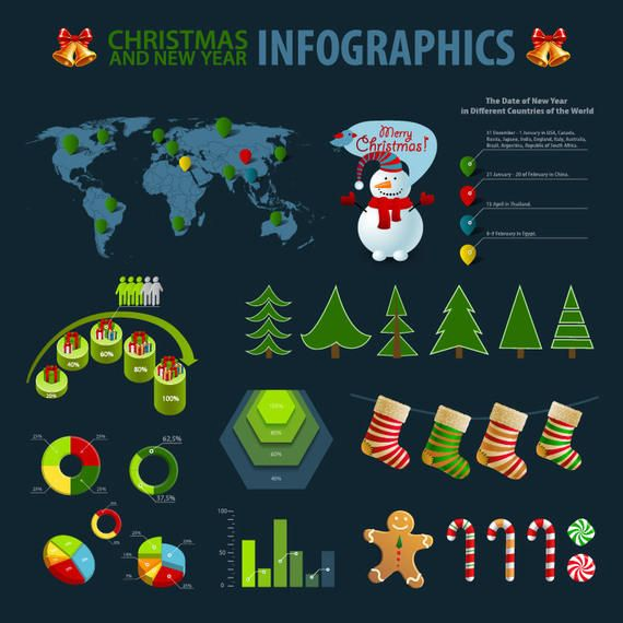Christmas Themed Simplistic Infographic Set