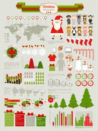 Conjunto de infográfico de Natal funky