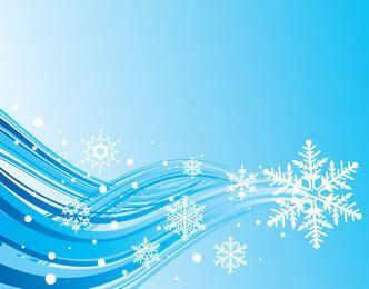 Simplistic Blue Wave & Snowflake Christmas Background