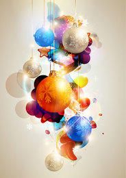 Glowing Colorful Christmas Ball Background
