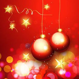 Luxurious Ornaments & Bokeh Light Christmas Background