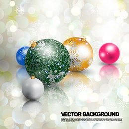 Multicolor 3D Christmas Ball on Bokeh Lights