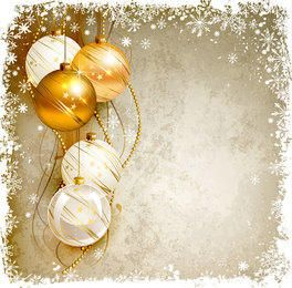 Marco de copo de nieve bolas de Navidad de fondo