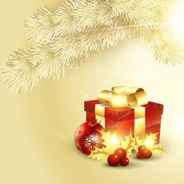 Caixa de presente decorativa 3D no fundo de ramo de árvore dourada