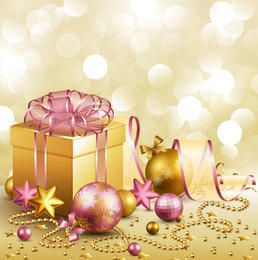 3D Gift Box & Christmas Ornaments Golden Background