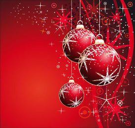 Christmas Balls & Snowflakes Sparkling Background