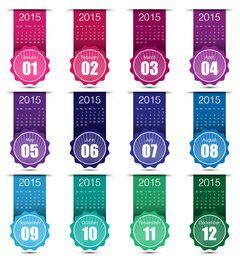 Colorido calendario etiquetado creativo 2015 calendario