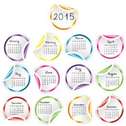 Flipped Edge Multicolor Rounded Sticker Calendar 2015