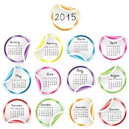Hizo girar el borde de la etiqueta engomada redondeada multicolor calendario 2015