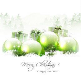 Snowy Christmas Background with Green Baubles