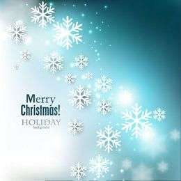 Blue Christmas Background with Shiny Snowflakes