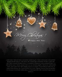 Dark Christmas Greeting with Branch & Icons