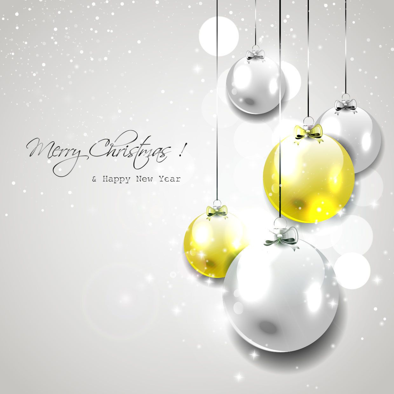 fe1d760137f Bolas brillantes de Navidad colgando sobre fondo gris - Descargar vector
