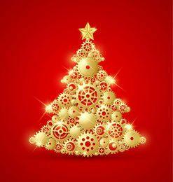 Árvore de Natal decorativa dourada com engrenagens