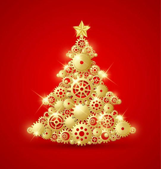 Golden Decorative Christmas Tree with Gears