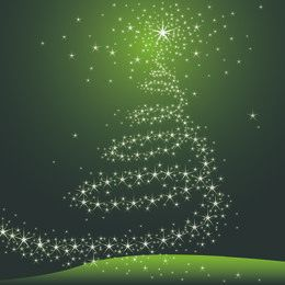 Decorative Starry Christmas Tree on Green Background