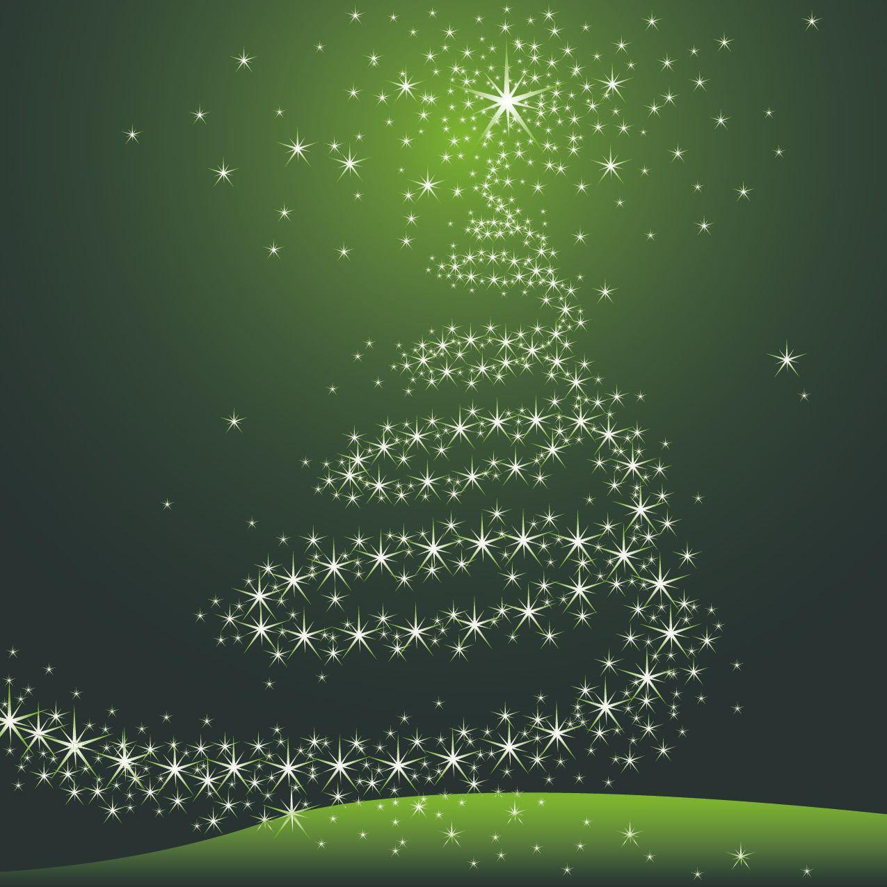 Rbol estrellado decorativo de navidad en fondo verde for Arbol navidad verde