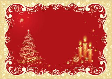 Christmas Tree and Candle Lights on Floristic Background