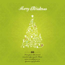 Hand Sketch Decorative Christmas Tree Greeting Card