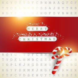 Tarjeta de Navidad roja sobre fondo digital